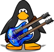 Blue Double Necked Guitar from a Player Card