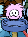 Pink Puffle playing with furniture