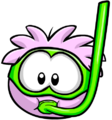 Pink Puffle with a snorkel