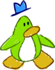 Doodle Dimension penguin Lime Green hat