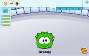 Green puffle care card