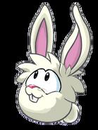 Puffle conejo blanco rosa orejas