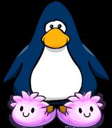 Pantuflas de Puffle Rosa tarjeta