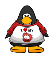 I Heart My Red Puffle T-Shirt Player Card