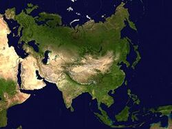 Two-point equidistant projection of Asia