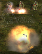 3 gatling cannon overlords taking an offensive attack against enemy base defense