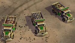 Bomb trucks: basic; upgraded with a High Explosive Bomb; upgraded with a Bio Bomb