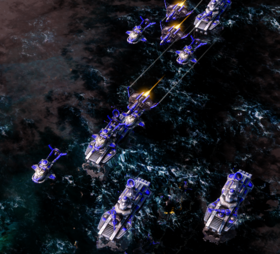 The Allied fleet, en route to Pearl Harbor