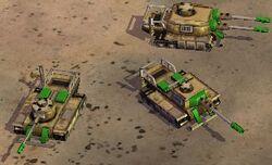 Marauder tanks, counter-clockwise: basic, salvaged once, salvaged twice