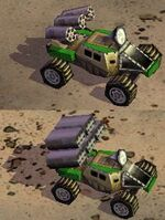 Rocket buggies: basic (above), with buggy ammo (below)