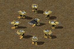Mobile (circle) and deployed (center) Juggernauts