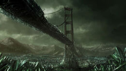 The Golden Gate Bridge completely consumed by Tiberium, circa 2047