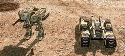 A Titan Mk. II and a Mammoth tank refitted with adaptive armour