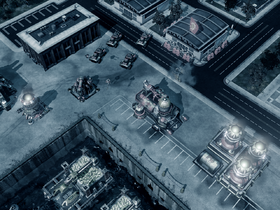 The Soviet base, frozen in time by the activated Sigma Harmonizer