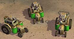 Toxin tractors: basic, upgraded once, upgraded twice