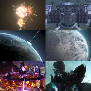 From the top: Destruction of the GDSS Philadelphia The White House occupied by Nod Ion cannon strike on Temple Prime The Scrin landing on Earth The destruction of Berne by a Scrin mothership A Scrin drone platform disintegrating after the destruction of the relay node