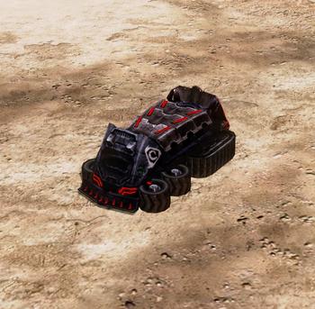 With dozer blades, deployed