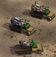 Quad cannons from below upwards; basic, upgraded once, upgraded twice