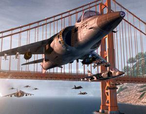 Harriers preparing to attack Yuri's Psychic Dominator on Alcatraz Island.