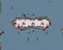 Soviet defenses in the middle of the river.