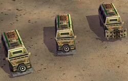 Battle buses: basic, upgraded once, upgraded twice