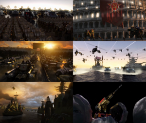 Clockwise from top-left: Imperial forces mobilizing for the invasion of the USSR Soviet occupation of Rome Soviet apocalypse tanks rolling in the streets of Paris Imperial full-scale invasion of the USSR Large Soviet armada on course to the British Isles The Mount Rushmore laser being activated