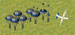 Eight G.I.s parachuting