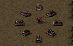 Mobile (circle) and deployed (center) Tick tanks