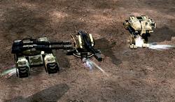 A Mammoth Mk. III, a Guardian cannon and a Titan Mk. II with accelerated railguns