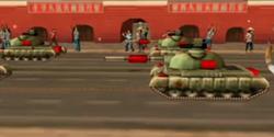 The military parade passing Tienanmen Square