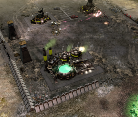 GDI riflemen engaging Nod infantry in the abandoned GDI outpost