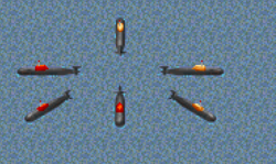 Submarines with house colours Red is Russia, orange is Ukraine