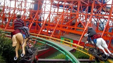 Steeplechase center track on-ride HD POV Pleasure Beach, Blackpool