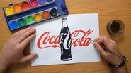 How to draw a Coca Cola logo with a bottle