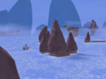 Aelita is being pursued by two Hornets in the flooded Mountain Sector