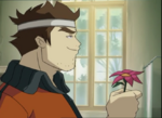 Jim brings a flower to Yolanda