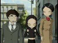 Exploration Yumi walking with her parents image 1