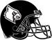 NCAA-ACC-Louisville Cardinals All-Black helmet-black & white logo-black facemask