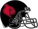 NCAA-ACC-Louisville Cardinals All-Black helmet-all red logo-black fasemask