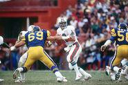 Dan Marino at Miami, while battling against the Rams.