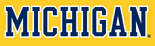 NCAA-Big 10-1996 Michigan Wolverines blue white trimmed wordmark-maize background