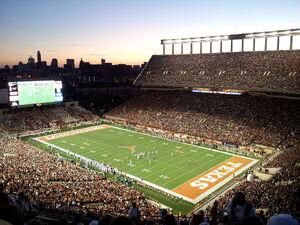 Darrell K Royal-Texas Memorial Stadium at Night.jpg