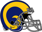 NFL-NFCW-Helmet-LA Rams-Yellow Horn Logo-Grey Mask-Left face