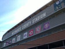 Milwaukee County Stadium marquee sign, third base grandstands, taken September 24, 2000