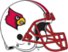NCAA-ACC-Louisville Cardinals white striped helmet-red facemask