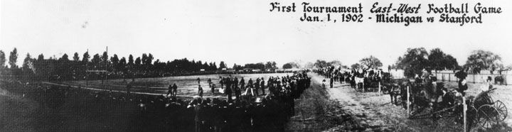 The very first Rose Bowl Game at Tournament park in 1902
