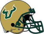 NCAA-AAC-USF Bulls Gold Helmet-white logo trim.png