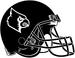 NCAA-ACC-Louisville Cardinals All-Black helmet-inverted white logo-black fasemask