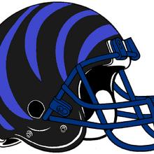 NCAA-AAC-Memphis Tigers Black blue bengal Striped helmet.png