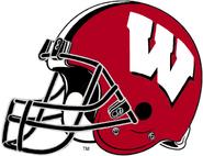 NCAA-Big 10-Wisconsin Badgers Crimson Helmet-black facemask-Right Side